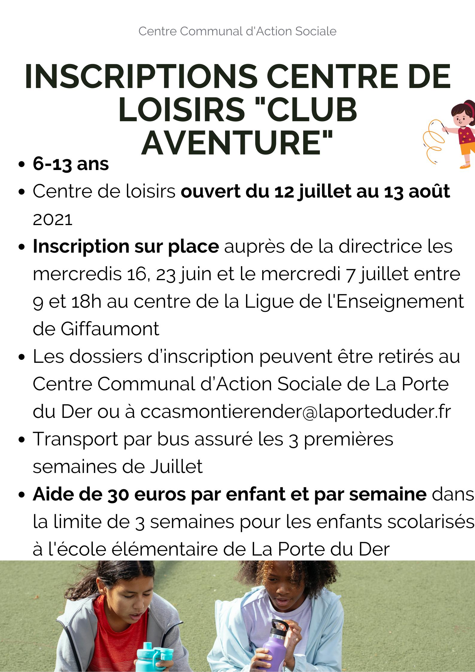 Inscription centre de loisirs 6-13 ans